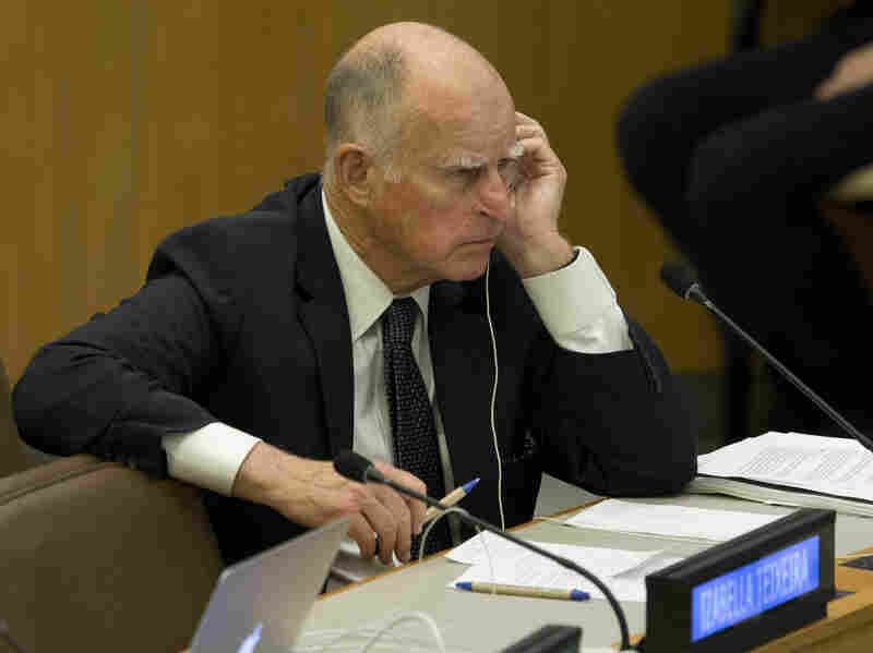 Jerry Brown attends a U.N. climate change conference in April. Brown cites Donald Trump's climate change skepticism as a reason for endorsing Hillary Clinton.