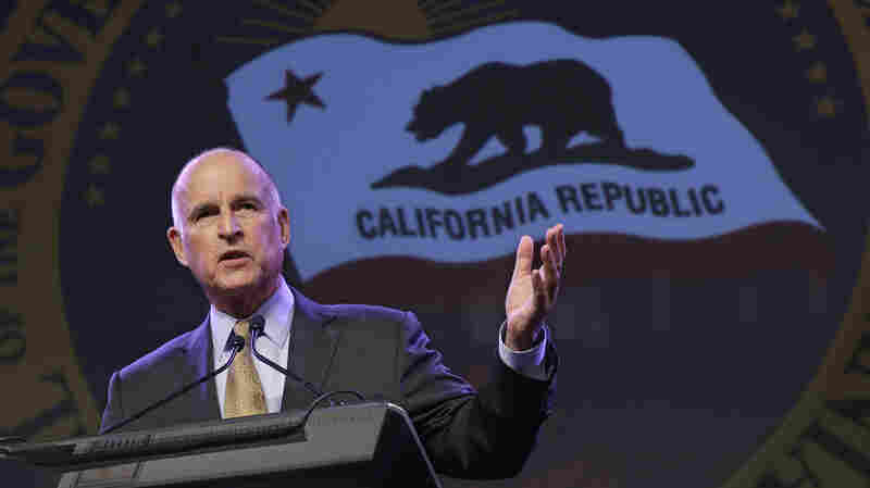California Gov. Jerry Brown speaks at the 91st Annual Sacramento Host Breakfast earlier this month. Brown endorsed Democrat Hillary Clinton ahead of his state's primary next week.