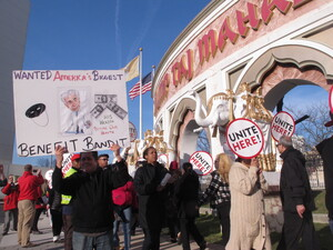 Union members demonstrate outside the Trump Taj Mahal casino in Atlantic City, N.J. earlier this year to protest new owner Carl Icahn's refusal to reinstate health insurance and pension benefits that previous owners eliminated in bankruptcy court.