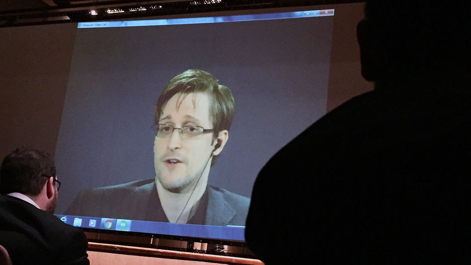 Former National Security Agency contractor Edward Snowden speaks via video conference at Johns Hopkins University in February. (AP)