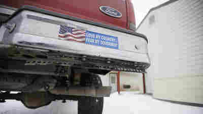 A truck displaying a bumper sticker at Malheur National Wildlife Refuge headquarters near Burns, Ore., in January. Armed anti-federalists took over the wildlife refuge in Oregon for 41 days.