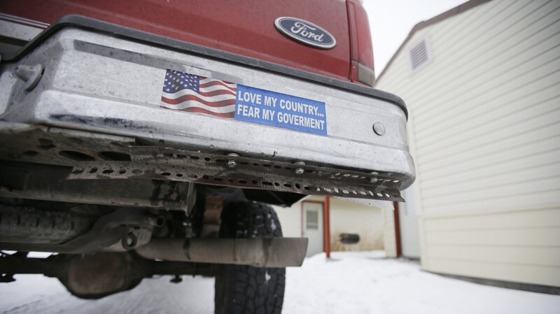 A truck displaying a bumper sticker at Malheur National Wildlife Refuge headquarters on Jan. 5 near Burns, Ore. Armed anti-federalists took over the wildlife refuge in Oregon for 41 days. The occupation ended on Feb. 11.