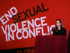 American actress Angelina Jolie speaks at a conference fr the prevention of sexual violence in conflict, at the Dom Armije in Sarajevo, Bosnia and Herzegovina, on March 28, 2014.