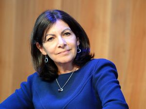 Paris Mayor Anne Hidalgo attends a press conference in Paris on Monday.