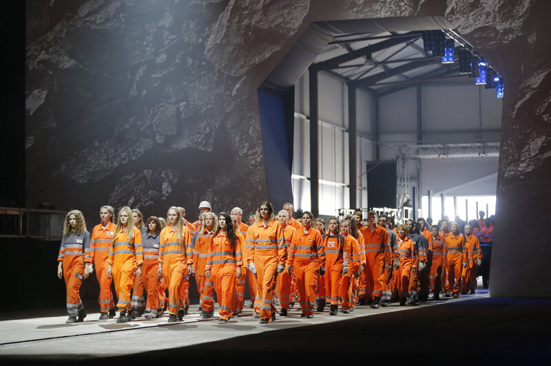 Artists perform in Erstfeld, Switzerland, on Wednesday at the opening of the Gotthard rail tunnel. The show was directed by German director Volker Hesse.