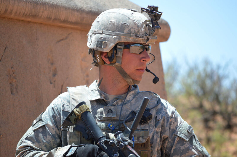 Sgt. Jessie Bacon uses the Tactical Communications and Protective System to relay information to his squad in Fort Bliss, Texas. About 20,000 of the devices have been deployed so far.