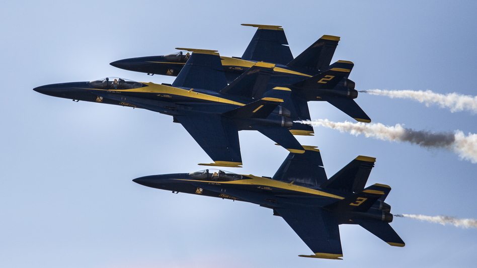 A Navy pilot who flew with the Blue Angels — some of the group's planes are seen here last September — was killed in a crash southwest of Nashville on Thursday afternoon. (Press Herald via Getty Images)