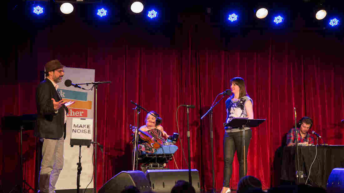 Bob Boilen, Gaelynn Lea and Ophira Eisenberg on Ask Me Another.