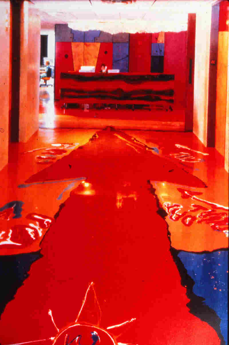 The brightly colored plastic resin flooring was poured by architect Gaetano Pesce himself.