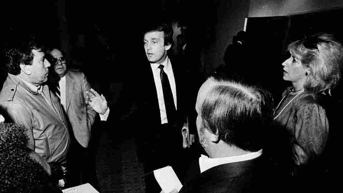Donald Trump, owner of the United States Football League's New Jersey Generals, talks to reporters on Nov. 1, 1985, in Memphis, Tenn., during a break in the USFL owners' meeting.