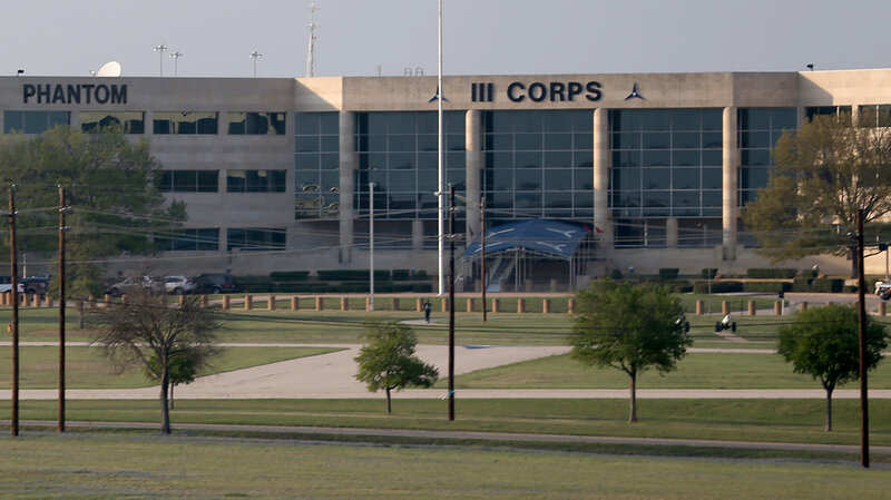 A building on Fort Hood Army Base in Fort Hood, Texas, is seen in this 2014 photo. Rescue crews were searching for four soldiers missing after a training accident on Thursday.