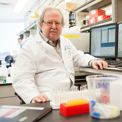Dr. James Allison in his lab at the University of Texas MD Anderson Cancer Center in Houston.