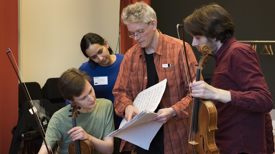 "Kronos Quartet led a workshop for young professional string quartets to explore new works commissioned as part of ""Fifty For The Future."" (Courtesy of Carnegie Hall)"