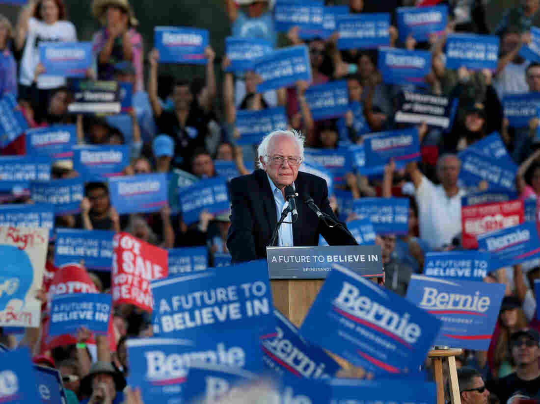 Democratic presidential candidate Sen. Bernie Sanders speaks during a campaign rally at Qualcomm Stadium in San Diego on June 5.