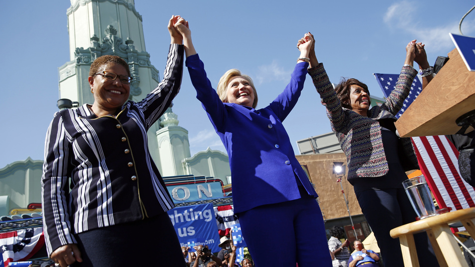 Presumptive Democratic nominee Hillary Clinton (center) at a rally with Rep. Karen Bass, D-Calif. (left), and Rep. Maxine Waters, D-Calif., on Monday. (John Locher/AP)