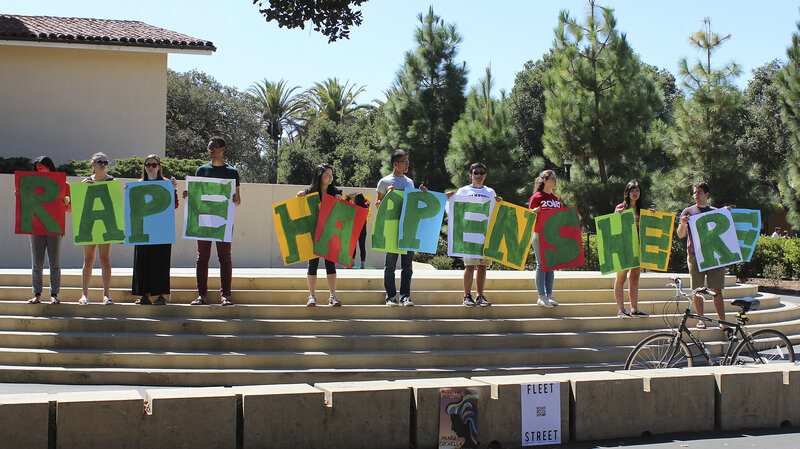 Stanford has found itself in a string of high-profile sexual assault cases. During a demonstration last September, students held a sign about rape at the university's White Plaza during new student orientation.