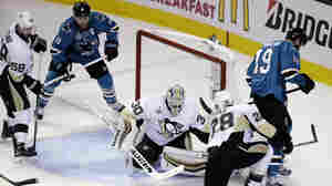 Pittsburgh Penguins goalie Matt Murray (30) defends against San Jose Sharks' Joe Thornton (19) during the second period of Game 4 of the NHL Stanley Cup final on Monday in San Jose, Calif.