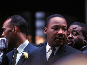 Dr. Martin Luther King Jr., Albert Raby (left) and Ralph Abernathy at City Hall in Chicago, in 1965.