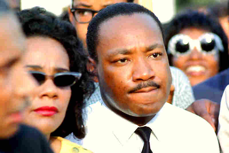 Dr. Martin Luther King Jr. and Coretta Scott King at a rally in Chicago's Grant Park, in 1966.