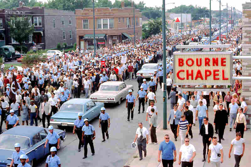 A Chicago Freedom Movement march down South Kedzie Avenue in the Marquette Park neighborhood of Chicago, in 1966.