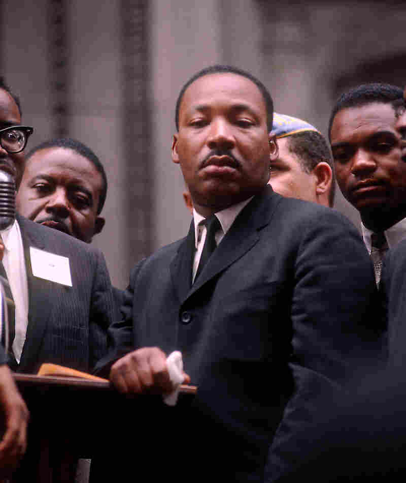 Dr. Martin Luther King Jr. at City Hall during a Chicago Freedom Movement rally in 1966.