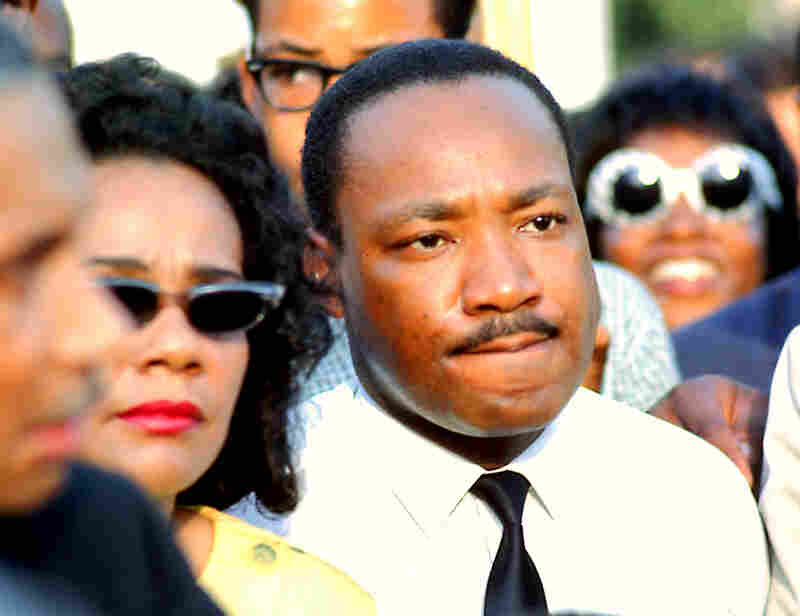 Martin Luther King Jr. and Coretta Scott King at a rally in Chicago's Grant Park in 1966.