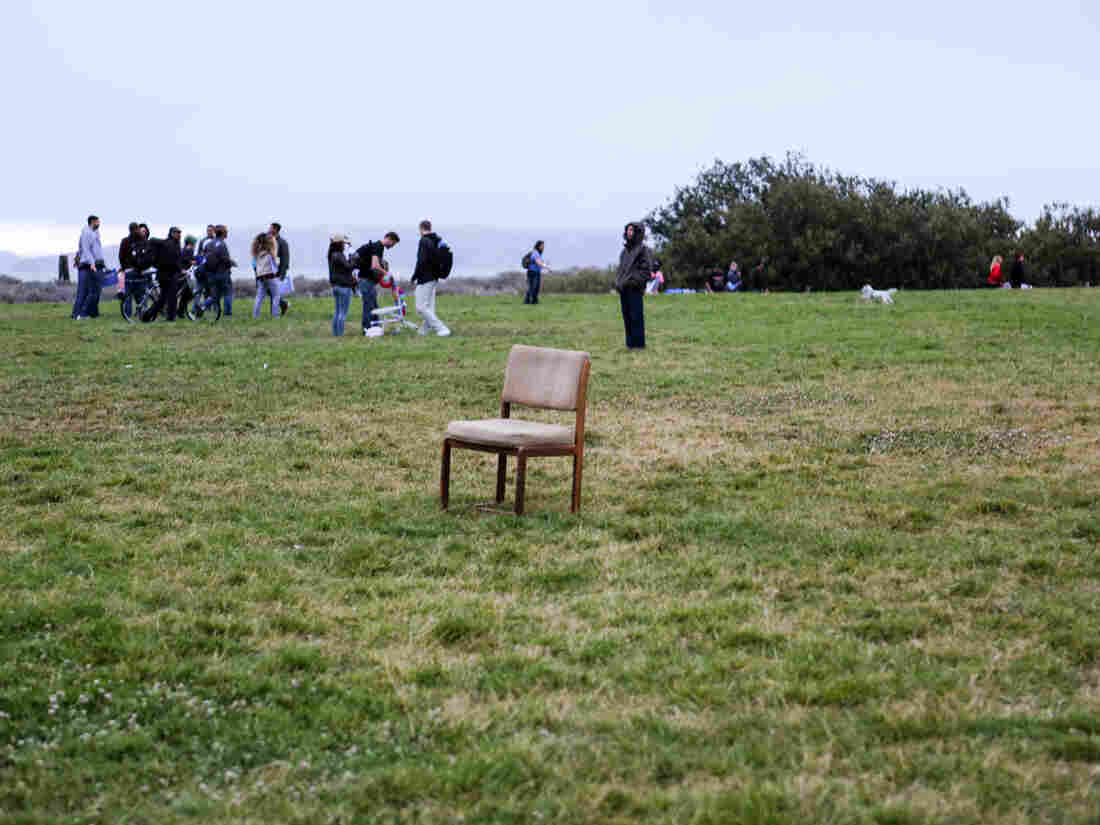 An empty chair left behind after Sanders' final rally in San Francisco.