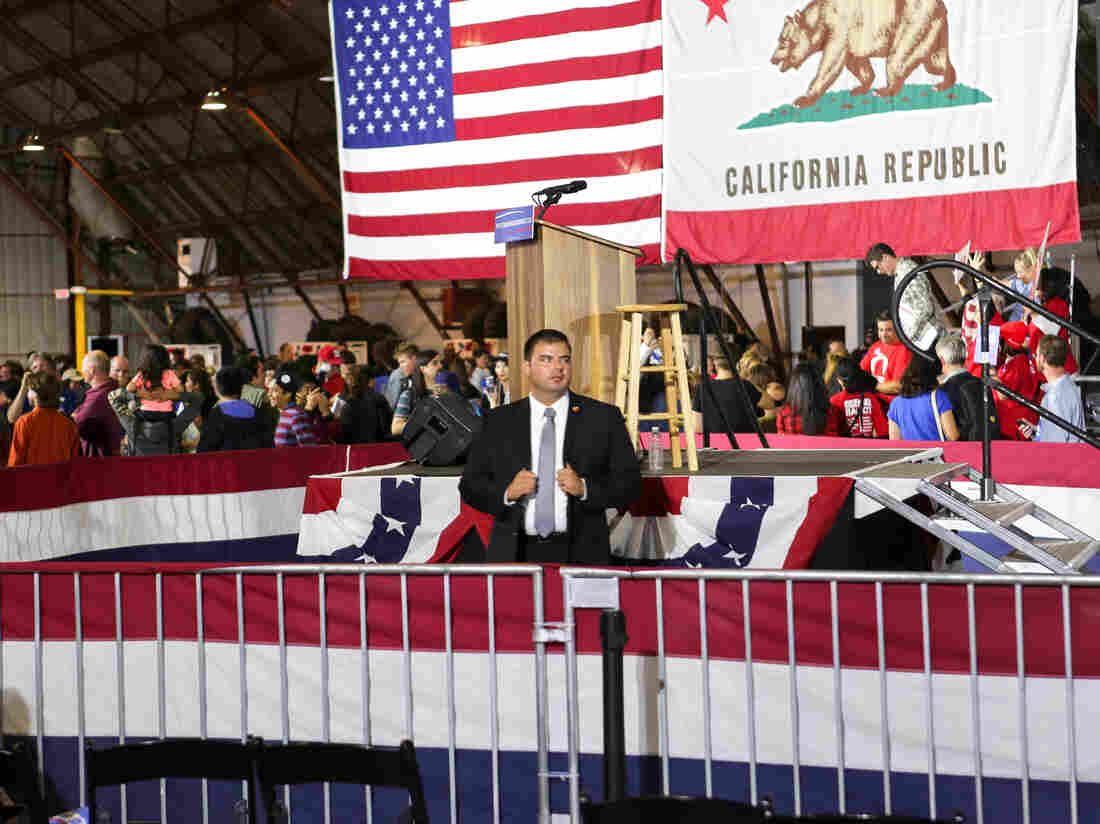 Secret service agents guarded Sanders' podium at his Los Angeles rally after he lost the California primary June 7.