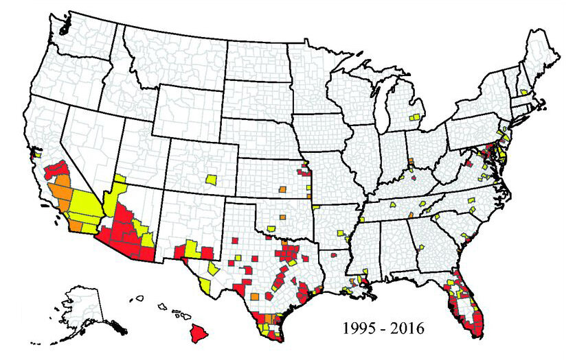 County Map Shows Where Mosquitoes That Could Carry Zika Have Lived