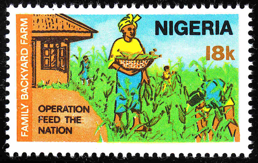 """This 1976 stamp from Nigeria promoted """"Operation Feed the Nation."""""""