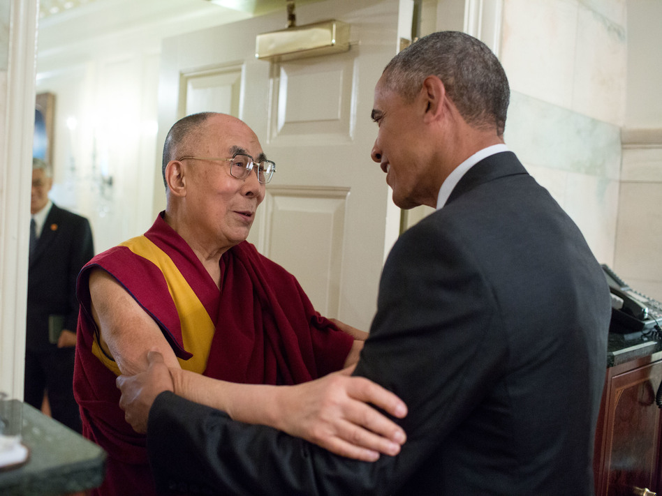 President Obama greets the Dalai Lama at the entrance to the Map Room of the White House Wednesday. (Pete Souza/The White House)