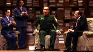 James Maddalena (right) as Richard Nixon and John Duykers as Mao Tse-tung in the 1987 Houston Grand Opera world premiere of Nixon in China by composer John Adams and librettist Alice Goodman.