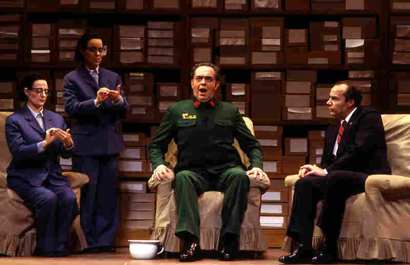 James Maddalena (right) starred as Richard Nixon in the 1987 Houston Grand Opera world premiere of Nixon in China by John Adams. James Duykers sang the role of Mao Tse-tung.