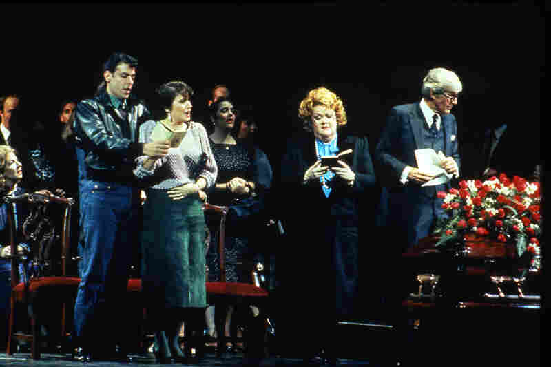 A scene from the world premiere of Bernstein's A Quiet Place with Peter Kazaras as François and Sheri Greenawald as Dede (left) and Carolyne James as Mrs. Doc and Peter Harrower as Doc (right).