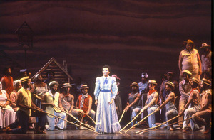 Carmen Balthrop (center) sang the title role in Scott Joplin's Treemonisha in the first fully staged professional production, at Houston Grand Opera in 1975. This photograph dates from the company's 1981-82 revival.