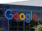 Google's logo is displayed at the Google headquarters in Mountain View, Calif., if you please.