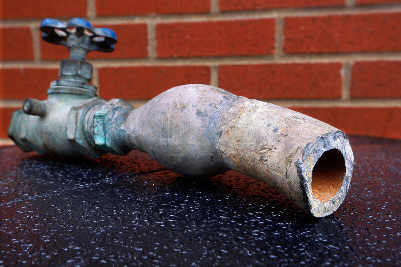 Lead pipes like this one still bring water into many U.S. homes.
