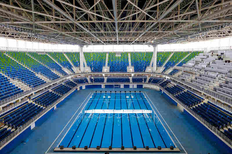 General view of the Olympic Aquatics Stadium at the Olympic Park which will host the swimming events during Rio 2016 Olympic Games in Rio de Janeiro, Brazil, on June 7, 2016.