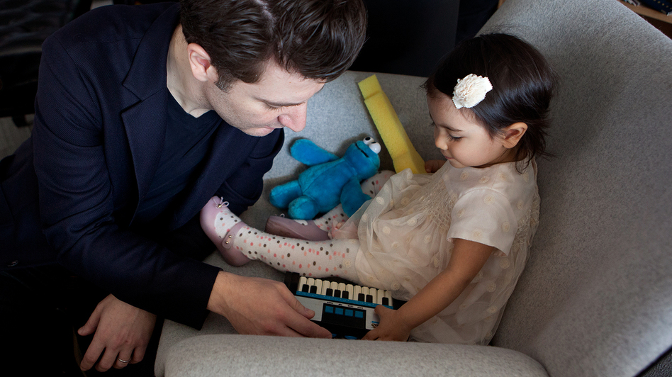 Alessio Bax with his daughter at the Tiny Desk.