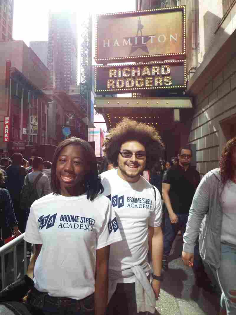 "Osariemen ""Tootie"" Uwaifo and Chris Zaragoza of Broome Street Academy pose outside the Richard Rodgers Theatre."