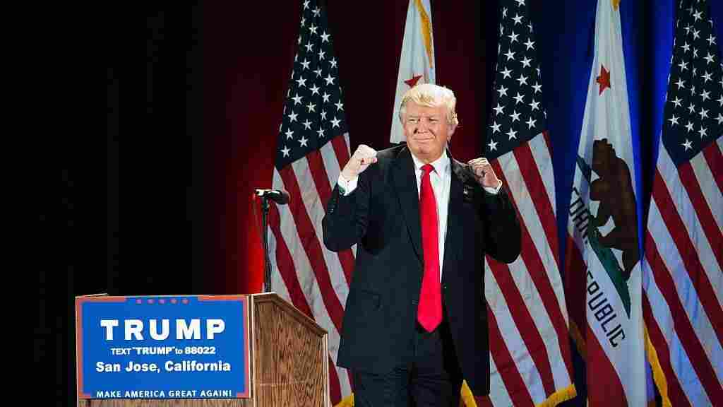 Republican presidential candidate Donald Trump gestures during a rally at the San Jose Convention Center earlier this month.