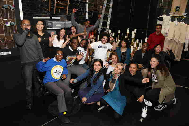 Student performers gather backstage at the Richard Rodgers Theatre on May 11, 2016. They'll perform their own renditions of historical characters before seeing a special matinee performance of Hamilton.