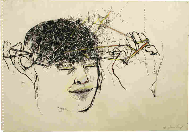 Head, by June Leaf, 1975. Pen and ink and colored pencil on paper, 13 7/8 × 19 7/8 in. Collection of the artist.