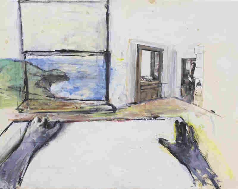Robert Enters the Room, by June Leaf, 1973. Acrylic, collage, gelatin silver prints, and pen and ink on paper, 22 × 28 in. Collection of the artist.
