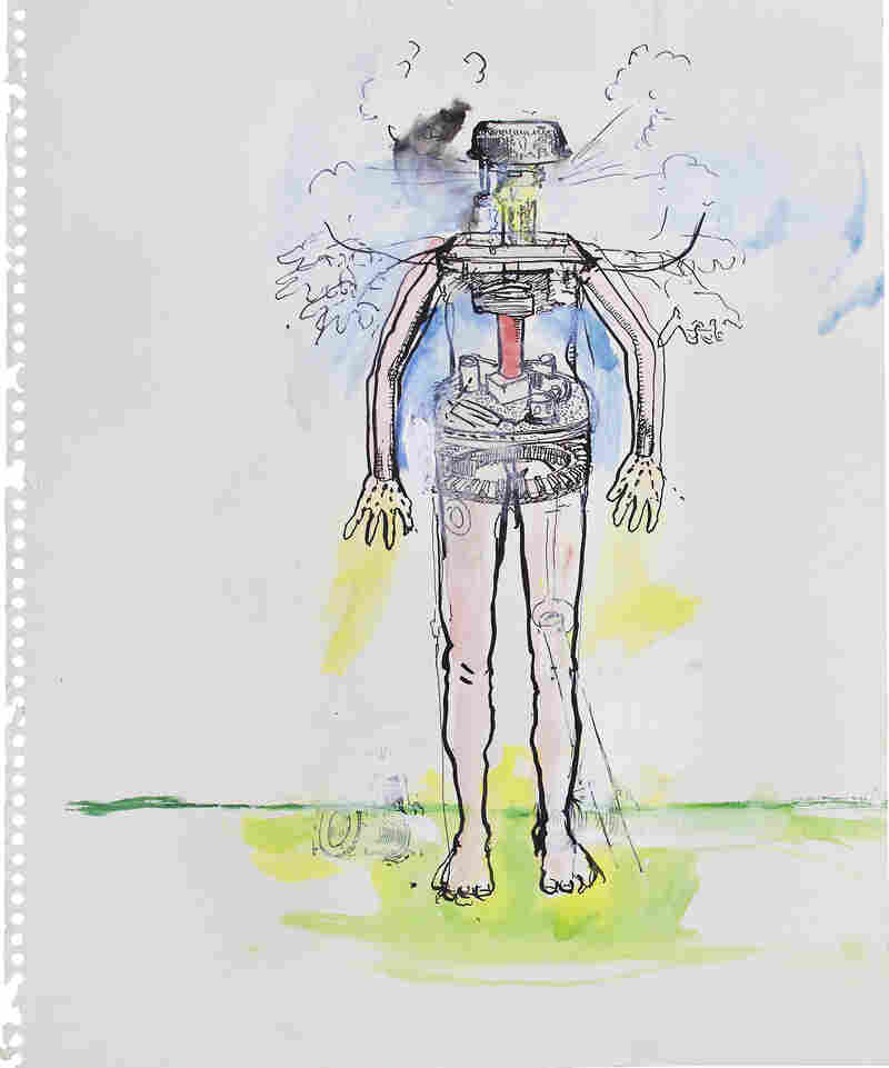 Study for Woman Monument, by June Leaf, 1975. Pen and ink, and acrylic on paper, 17 × 14 in. Collection of the artist.