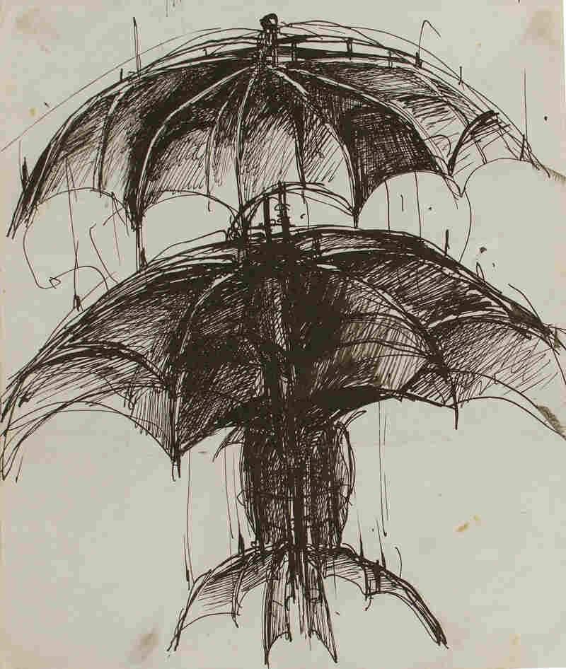 Umbrella Woman, by June Leaf, 1951. Pen and ink on paper, 10 1/8 × 8 7/16 in.