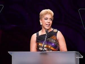 Chairman/CEO Linda Johnson Rice speaks at Ebony magazine's Power 100 Gala at The Beverly Hilton Hotel in December in Beverly Hills, Calif.