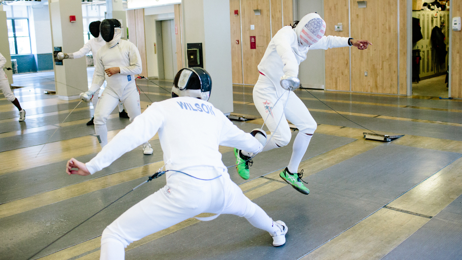 Fencer Jason Pryor (right), the only U.S. men's epee fencer competing in Rio, trains at the Fencers Club in New York City. He is currently ranked 38th in the world. (Adrienne Grunwald for NPR)