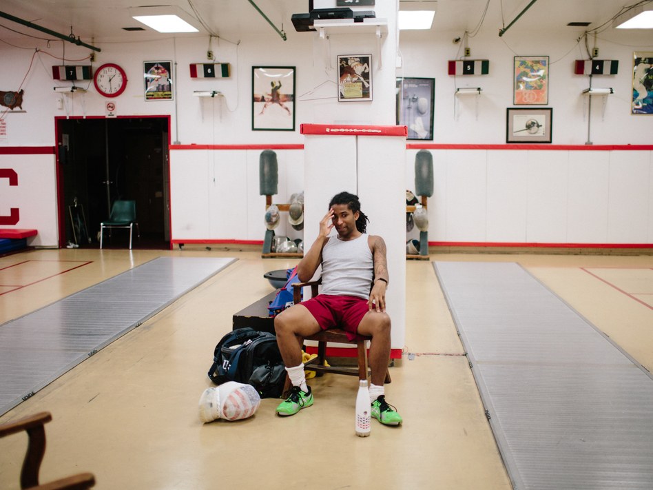 Pryor takes a moment after a long training session at the New York Athletic Club. He fell into fencing by accident after quitting soccer as a kid. (Adrienne Grunwald for NPR)