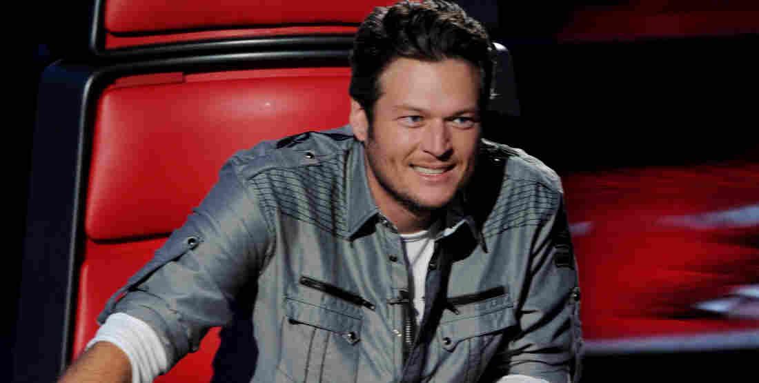 Blake Shelton on the set of The Voice.